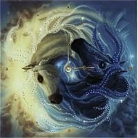 """Картина Swarovski """"Часы """"Инь-ян в год лошади"""""""""""