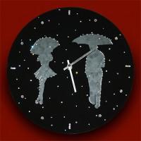"""Картина Swarovski """"Часы """"Влюбленные под дождем"""""""""""