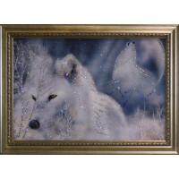 """Картина с кристаллами Swarovski """"Белые волки"""""""