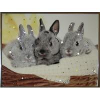 """Картина с кристаллами Swarovski """"Братцы кролики"""""""