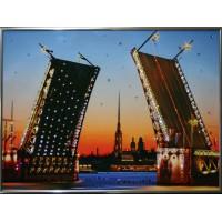 """Картина с кристаллами Swarovski """"Дворцовый мост. малый."""""""