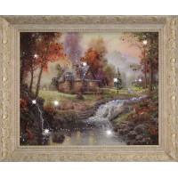 "Картина с кристаллами Swarovski ""Домик в лесу"""