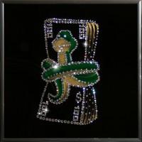 """Картина с кристаллами Swarovski """"Змея с деньгами"""""""