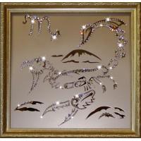 """Картина с кристаллами Swarovski """"Скорпион 35х35 см"""""""