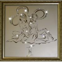 "Картина с кристаллами Swarovski ""Близнецы 35х35 см"""
