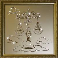 "Картина с кристаллами Swarovski ""Весы 35х35 см"""