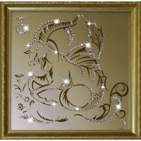 "Картина с кристаллами Swarovski ""Козерог 35х35 см"""