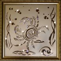 "Картина с кристаллами Swarovski ""Рак 35х35 см"""