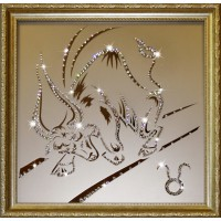 "Картина с кристаллами Swarovski ""Телец 35х35 см"""