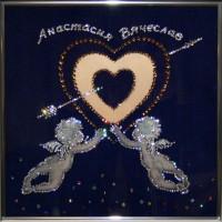 """Картина с кристаллами Swarovski """"Золотое сердце"""""""