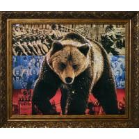"""Картина с кристаллами Swarovski """"Медведь-Символ России"""""""