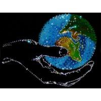"""Картина с кристаллами Swarovski """"Мир в руке"""""""