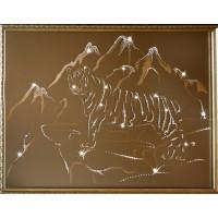 "Картина с кристаллами Swarovski ""Тигр в горах"""
