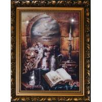 "Картина с кристаллами Swarovski ""Филин на книгах"""