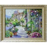 """Картина с кристаллами Swarovski """"Цветущий город"""""""