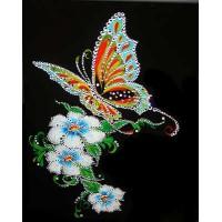 """Картина с кристаллами Swarovski """"Бабочка и белые цветы"""""""