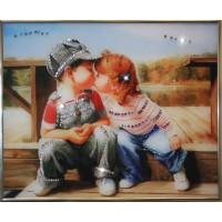 """Картина с кристаллами Swarovski """"Детский поцелуй"""""""