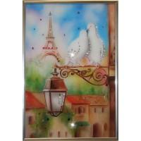 "Картина с кристаллами Swarovski ""Голуби в Париже"""