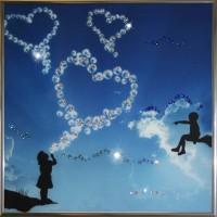 """Картина с кристаллами Swarovski """"Воздушный поцелуй"""""""
