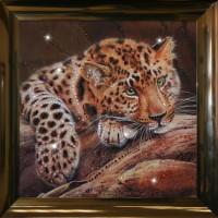 "Картина с кристаллами Swarovski ""Леопард"""