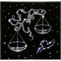 """Картина с кристаллами Swarovski """"Весы черные 25x25 см"""""""
