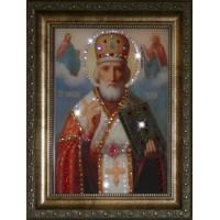 "Картина с кристаллами Swarovski ""Икона Николай Чудотворец"""