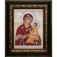 """Картина с кристаллами Swarovski """"Икона Божией Матери Тихвенская"""""""