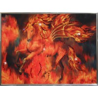 """Картина с кристаллами Swarovski """"Огненный конь"""""""
