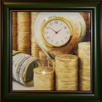 """Картина с кристаллами Swarovski """"Время деньги 3"""""""