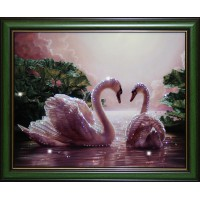 """Картина с кристаллами Swarovski """"Влюбленные лебеди"""""""