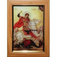 """Картина с кристаллами Swarovski """"Икона Георгий Победоносец малая"""""""