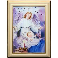 """Картина с кристаллами Swarovski """"Ангел-Защитник малая"""""""