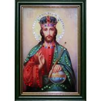 """Картина с кристаллами Swarovski """"Икона Христос Вседержитель малая"""""""
