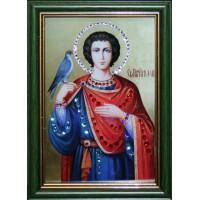 """Картина с кристаллами Swarovski """"Икона Святой Трифон малая"""""""