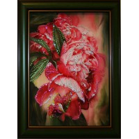 """Картина с кристаллами Swarovski """"Цветы пионов"""""""