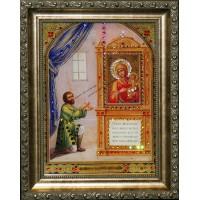 """Картина с кристаллами Swarovski """"Икона Божией Матери Нечаянная радость"""""""