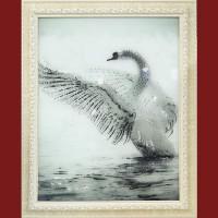 "Картина Swarovski ""Белый лебедь"""