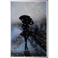 """Картина с кристаллами Сваровски """"Девушка под дождем"""""""