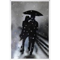 """Картина с кристаллами Сваровски """"Влюбленные под дождем"""""""