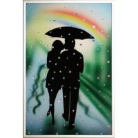 """Картина с кристаллами Сваровски """"Влюбленные под радугой"""""""