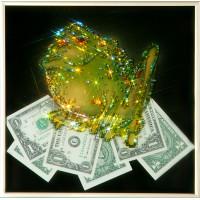 """Картина с кристаллами Сваровски """"Жаба с долларами"""""""