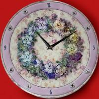 """Картина Swarovski """"Часы""""Цветочный орнамент"""""""""""