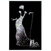 """Картина с кристаллами Сваровски """"Дама с собачкой"""""""