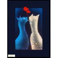 """Картина с кристаллами Сваровски """"Влюбленные котики"""""""