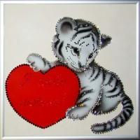 """Картина с кристаллами Сваровски """"Я твой тигра"""""""